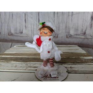 Vintage Annalee Elf Santa Hat White Coat Red Strip